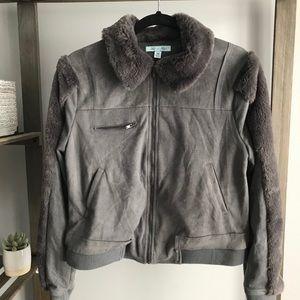 She & Sky Gray Soft Suede Fur Jacket